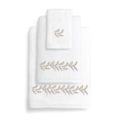 Autumn Leaves Turkish Cotton Bath Towel in White/Light Brown