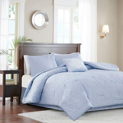 Madison Park Quebec 5-Piece Queen Comforter Set in Blue