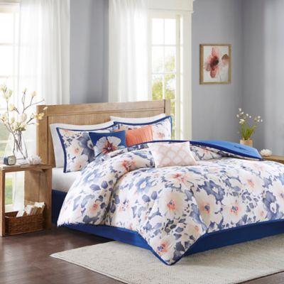 Madison Park Makena 7-Piece California King Comforter Set in Navy