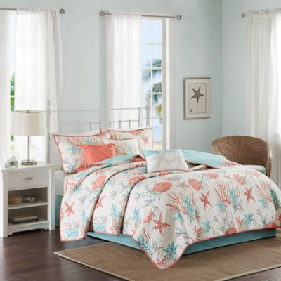 Madison Park Pebble Beach Quilted Full/Queen Coverlet Set in Coral
