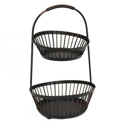 Mesa Delaware Collection 2-Tier Twist Basket in Antique Black