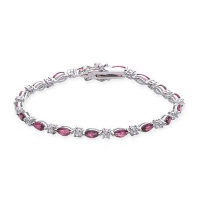 Genevieve Sterling Silver White and Red Cubic Zirconia 7-Inch Tennis Bracelet