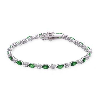 Genevieve Sterling Silver White and Green Cubic Zirconia 7-Inch Tennis Bracelet