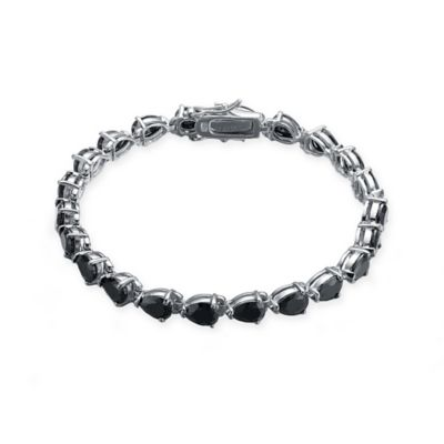 Genevieve Sterling Silver Pear-Shaped Simulated Onyx 7-Inch Bracelet