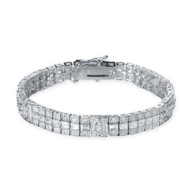 Genevieve Sterling Silver Cubic Zirconia 7-Inch Elegant Princess-Cut 3-Row Bracelet