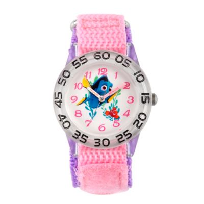 Disney® Finding Dory Children's Nemo Time Teacher Watch in Clear Plastic w/Pink Nylon Strap
