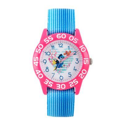 Disney® Finding Dory Children's 32mm Heart Time Teacher Watch in Pink Plastic w/Blue Nylon Strap