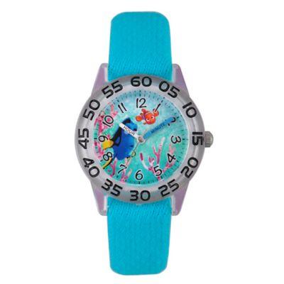 Disney® Finding Dory Children's 32mm Nemo Time Teacher Watch in Clear Plastic w/Aqua Nylon Strap