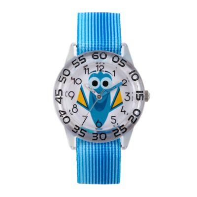 Disney® Finding Dory Children's Smiling Time Teacher Watch in Clear Plastic w/Blue Nylon Strap