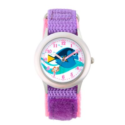 Disney® Finding Dory Children's 32mm Time Teacher Watch in Stainless Steel w/Purple Nylon Strap