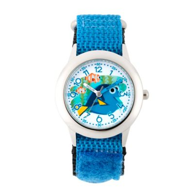 Disney® Finding Dory Children's 32mm Time Teacher Watch in Stainless Steel w/Blue Nylon Strap