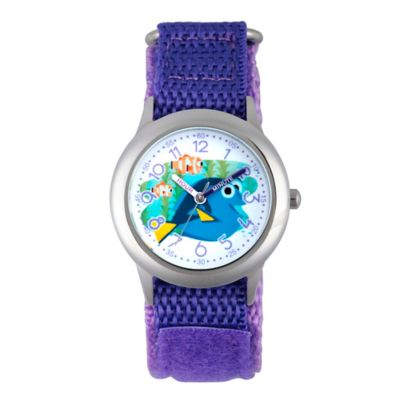 Disney® Finding Dory Children's Dory Time Teacher Watch in Stainless Steel w/Purple Nylon Strap