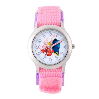 Disney® Finding Dory Children's Nemo Time Teacher Watch in Stainless Steel w/Pink Nylon Strap
