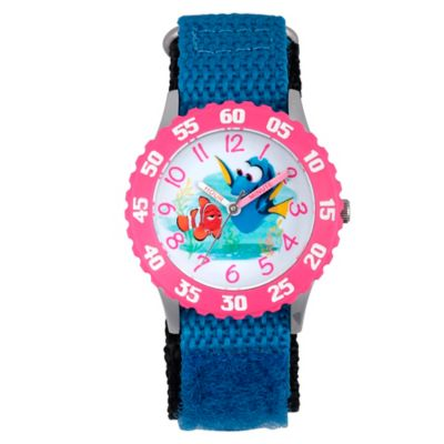 Disney® Finding Dory Children's Pink Time Teacher Watch in Stainless Steel w/Blue Nylon Strap