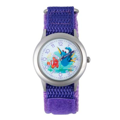 Disney® Finding Dory Children's Nemo Time Teacher Watch in Stainless Steel w/Purple Nylon Strap