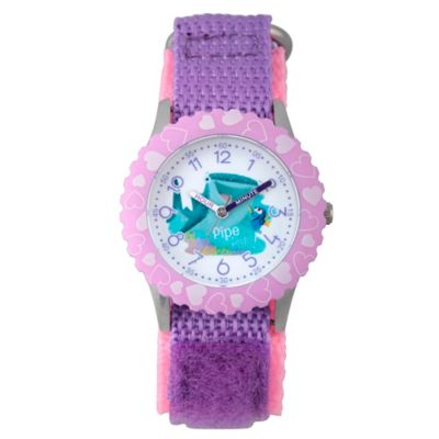 Disney® Finding Dory Children's Pals Time Teacher Watch in Stainless Steel w/Purple Nylon Strap