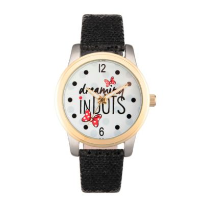 Disney® Minnie Mouse Ladies' 38mm Dreaming in Dots Watch in Two-Tone Alloy w/Black Leather Strap