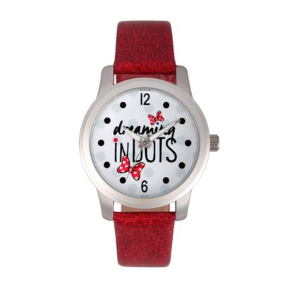 Disney® Minnie Mouse Ladies' 38mm Dreaming in Dots Watch in Silvertone with Red Glitter Strap