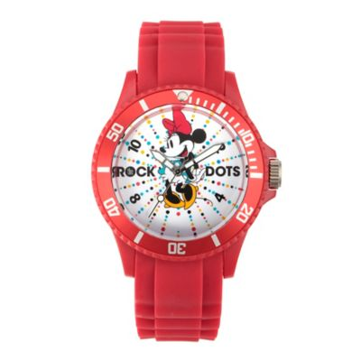 Disney® Minnie Mouse Ladies' 40mm Rock the Dots Watch in Red Plastic with Red Rubber Strap