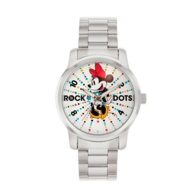 Disney® Minnie Mouse Ladies' 38mm Rock the Dots Watch in Silvertone Alloy