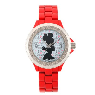 Disney® Minnie Mouse Ladies' 32mm Crystal-Accented Silhouette Watch in Red Alloy