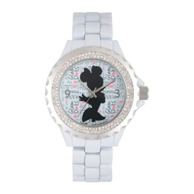 Disney® Minnie Mouse Ladies' 32mm Crystal-Accented Silhouette Watch in White Alloy