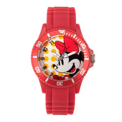 Disney® Minnie Mouse Ladies' 40mm Smiling Watch in Red Plastic with Red Rubber Strap