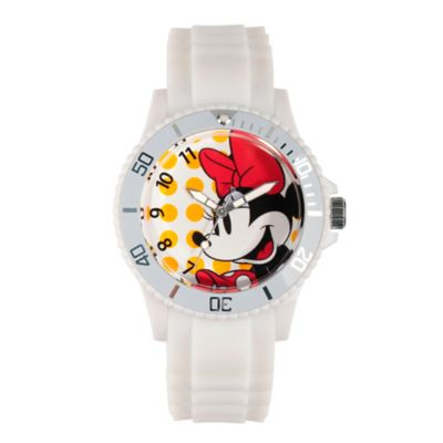 Disney® Minnie Mouse Ladies' 40mm Smiling Watch in White Plastic with White Rubber Strap