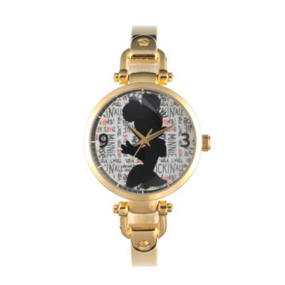 Disney® Minnie Mouse Ladies' 32mm Silhouette Bridle Watch in Goldtone Alloy