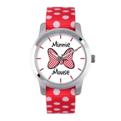 Disney® Minnie Mouse Ladies' 38mm Red Bow Watch in Silvertone Alloy with Red Dot Nylon Strap