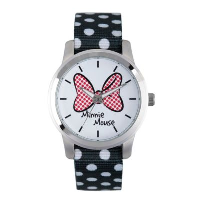 Disney® Minnie Mouse Ladies' 38mm Red Bow Watch in Silvertone Alloy with Black Dot Nylon Strap