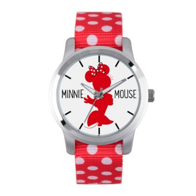 Disney® Minnie Mouse Ladies' Red Silhouette Watch in Silvertone Alloy with Red Dot Nylon Strap