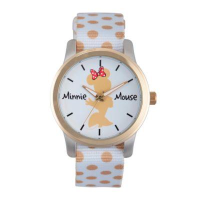 Disney® Minnie Mouse Ladies' Gold Silhouette Watch in Two-Tone Alloy w/White Dot Nylon Strap