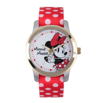Disney® Minnie Mouse Ladies' 38mm Smitten Watch in Two-Tone Alloy with Red Dot Nylon Strap