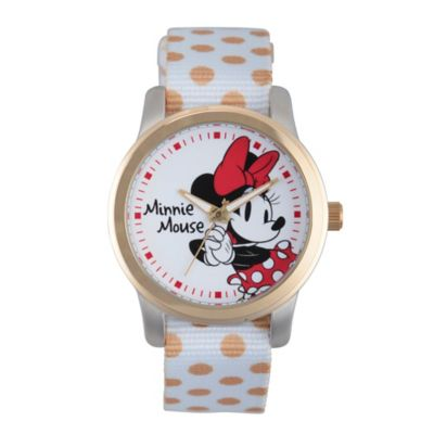 Disney® Minnie Mouse Ladies' 38mm Smitten Watch in Two-Tone Alloy with White Dot Nylon Strap