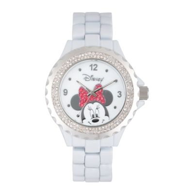 Disney® Minnie Mouse Ladies' 41mm Crystal-Accented Peek-A-Boo Watch in White Alloy