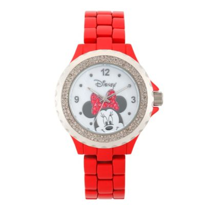 Disney® Minnie Mouse Ladies' 41mm Crystal-Accented Peek-A-Boo Watch in Red Alloy