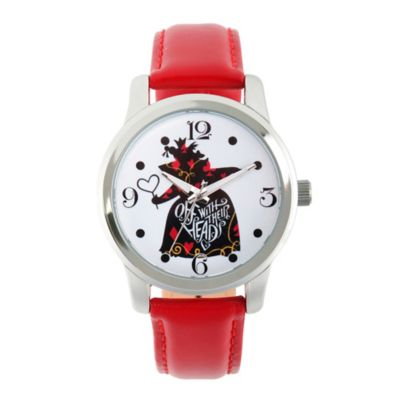 Disney® Alice in Wonderland Ladies' 38mm Queen of Hearts Watch in Silvertone w/Red Leather Band