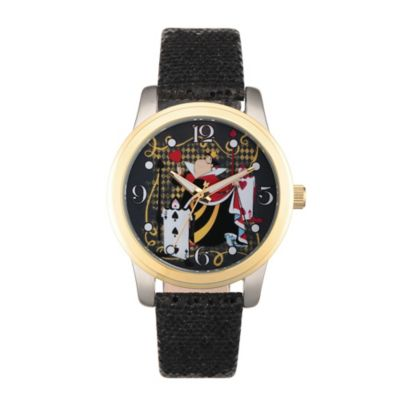 Disney® Alice in Wonderland Ladies' 38mm Queen of Hearts Watch in Two-Tone w/Black Leather Band