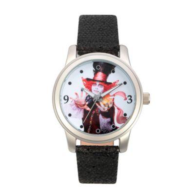 Disney® Alice in Wonderland Ladies' 38mm Mad Hatter Watch in Silvertone with Black Leather Strap