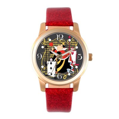 Disney® Alice in Wonderland Ladies' 38mm Queen of Hearts Watch in Goldtone w/Red Leather Band