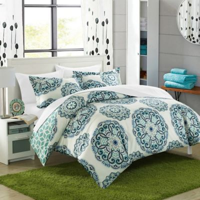 Chic Home Majorca 7-Piece Reversible King Duvet Cover Set in Green