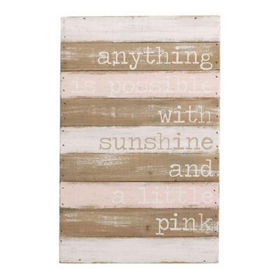 """Mud Pie® """"Anything Is Possible With Sunshine"""" Wood Plank Wall Art"""