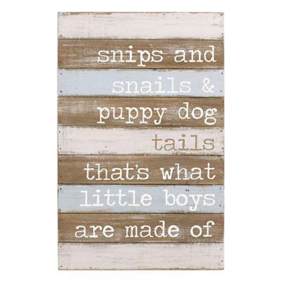 "Mud Pie® ""Snips & Snails"" Wood Plank Wall Art"