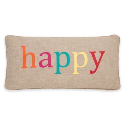 """Levtex Home Ariana """"Happy"""" Oblong Throw Pillow"""