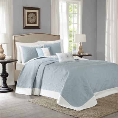 Madison Park Ashbury 5-Piece King Reversible Bedspread Set in Blue