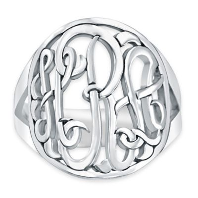 Alison & Ivy® Sterling Silver Ladies' Script Letter Halo Ring