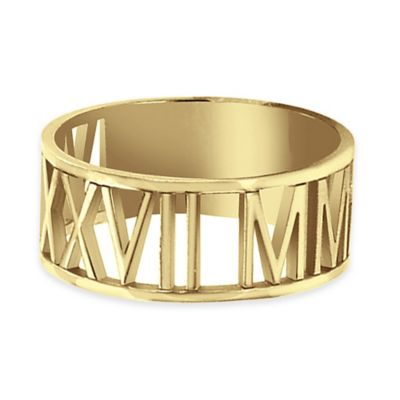 Alison & Ivy® 24K Yellow Gold-Plated Sterling Silver Laser Cut Roman Numeral Ring