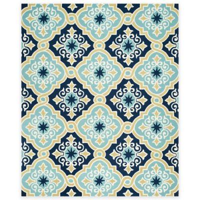 Safavieh Four Seasons Diamond Tile 8-Foot x 10-Foot Indoor/Outdoor Area Rug in Light Blue