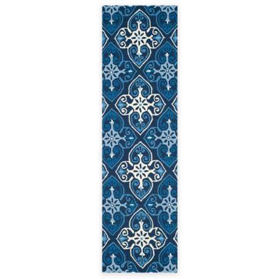 Safavieh Four Seasons Star Tile 2-Foot 3-Inch x 8-Foot Indoor/Outdoor Runner in Ivory/Navy